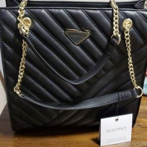 Ellen Tracy quilted shopper tote bag